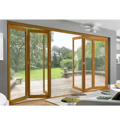 WDMA Wooden Grain Color Frame Large Bifold Door